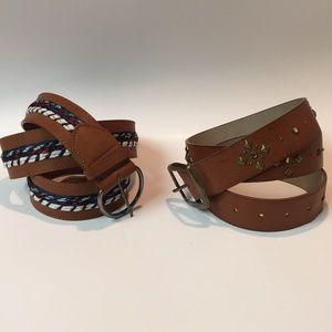 Two Brown Vegan Leather Belts, Women's Size 16